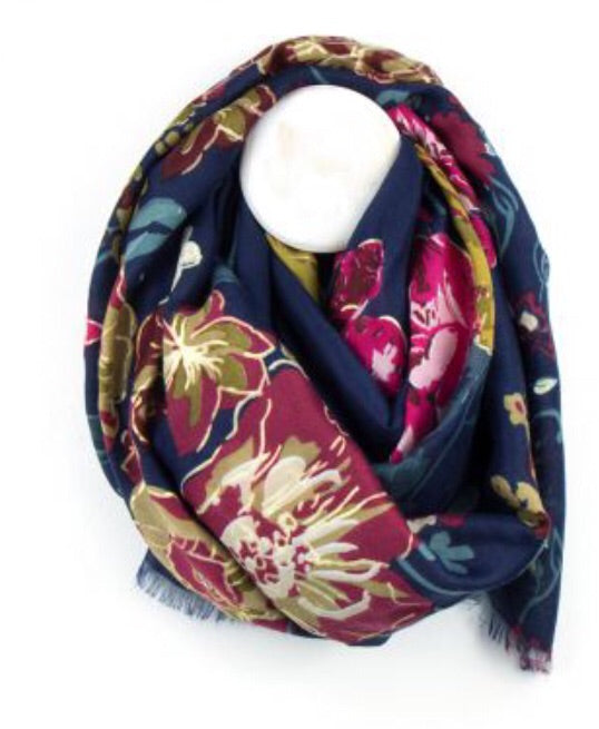 Navy & Gold Floral Print Scarf