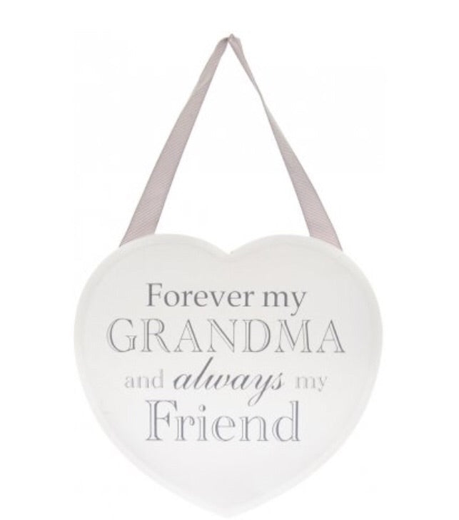 Forever My Grandma White Heart Plaque