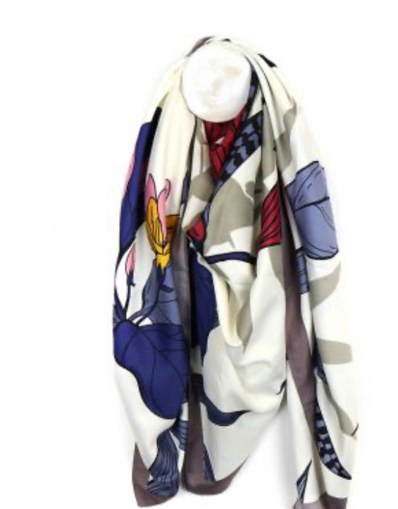 Ivory Mix Japanese Inspired Print Scarf