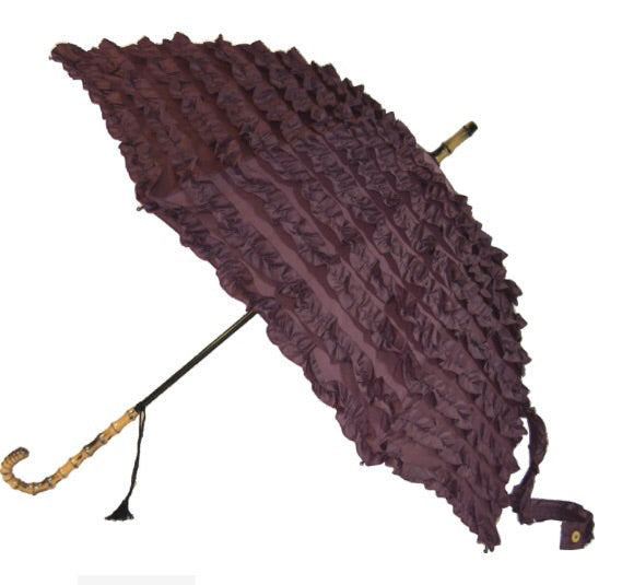 Plum Frill Walking Stick Style Umbrella