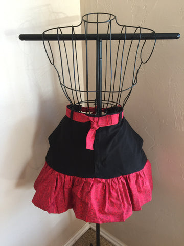 Black and Red Half Apron
