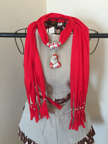 Fashion Jewelry Scarf Red Santa