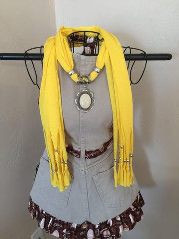 Fashion Jewelry Scarf Yellow Oval