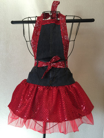 Red Sparkle Full Apron Homemade Kitchen Attire