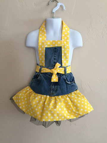 Child's size Full Apron Yellow Polka dots