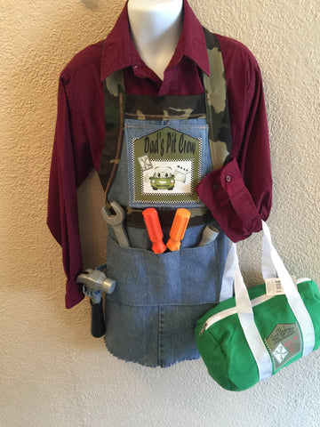 Kids Mechanic Apron with small tote bag (tools not included)