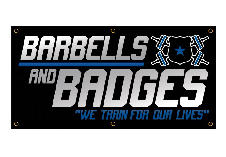 Barbells and Badges Banner 3'x6'