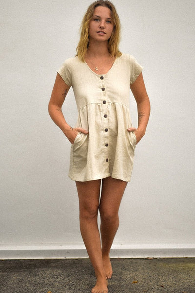 Beige Linen Babydoll Dress at Dreamers and Drifters