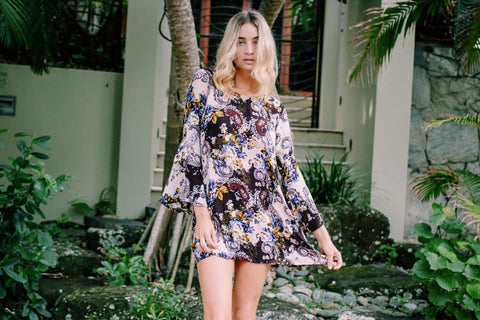 Fashion Blogger Bella Stone Gardner wearing Dreamers and Drifters dress