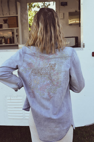 dreamersanddrifters.com.au Byron Bay fashion designer Denim chambray shirt with embroidery