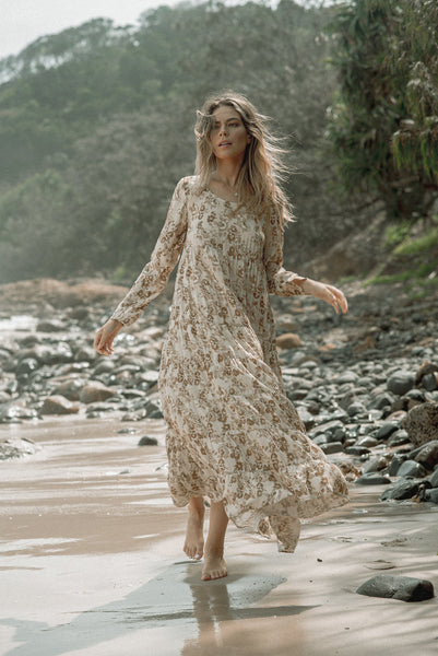 Long Sleeve Tiered Maxi Dress Beige Floral