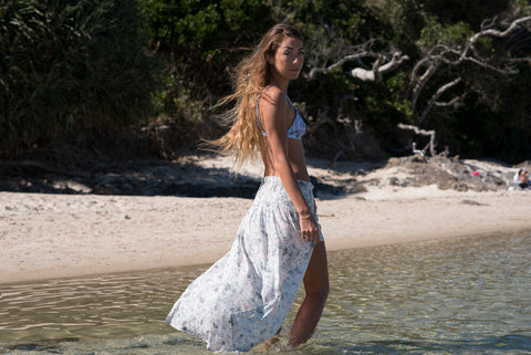 Dreamers and Drifters graceland maxi skirt photographed at The Pass Byron Bay