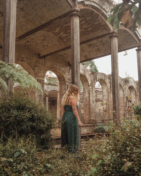 Blogger, @thatwanderlustboho, wearing the Ditsy Jumpsuit