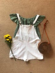 linen overalls & darling top