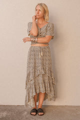 Double Frill Maxi Skirt Cheetah from Dreamers & Drifters