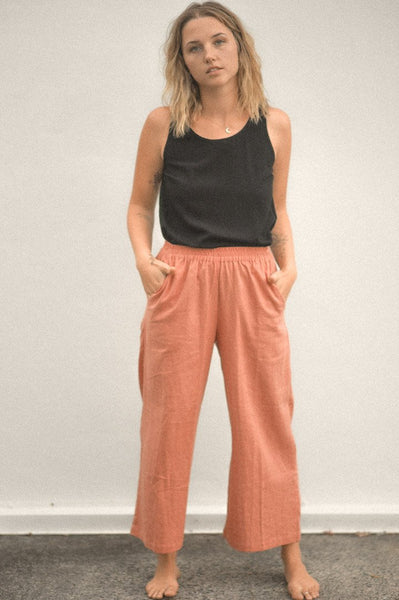 Pants Linen Wide Leg Culotte - Rust at Dreamers and Drifters