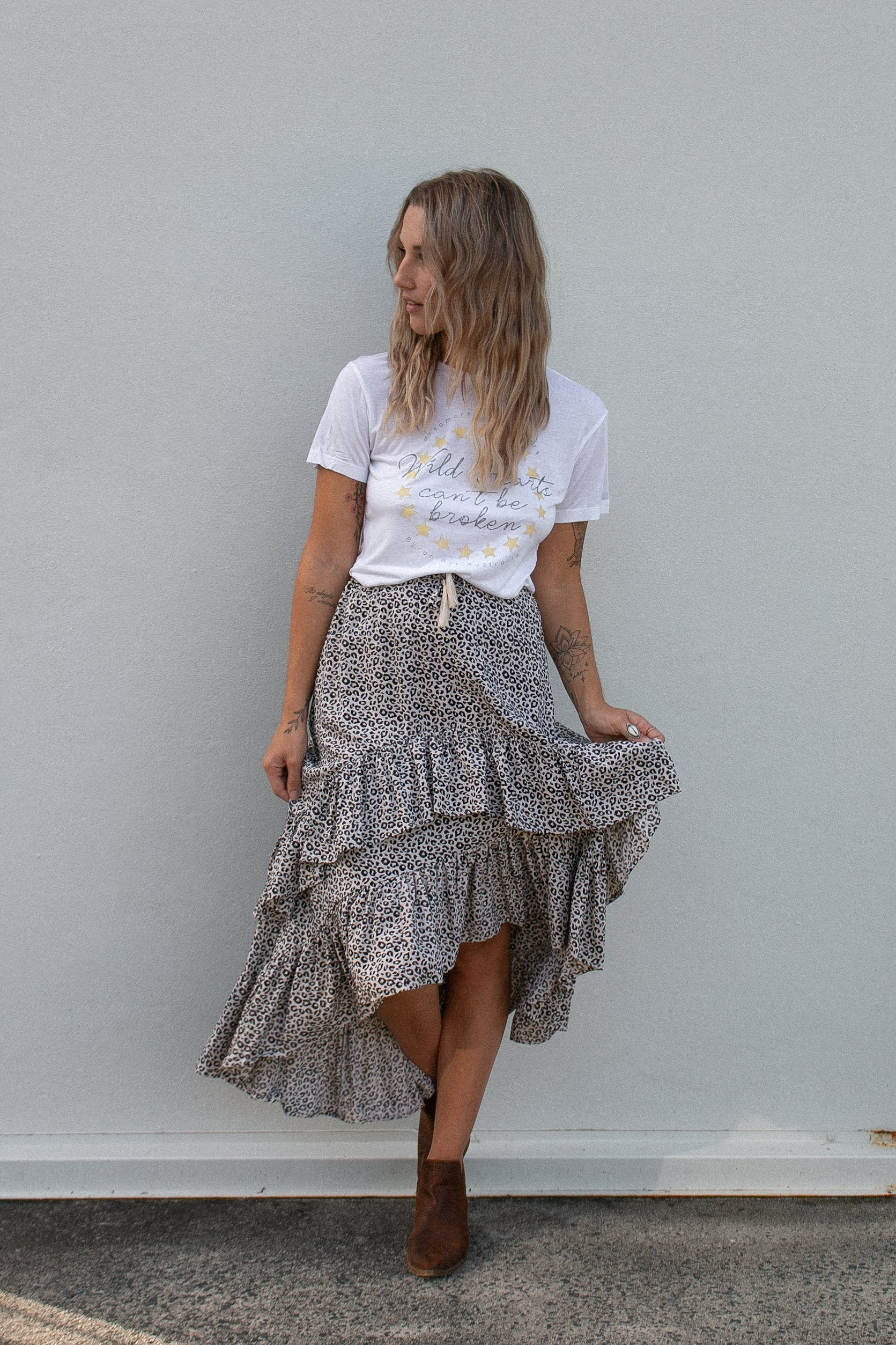 Double Frill Skirt Cheetah
