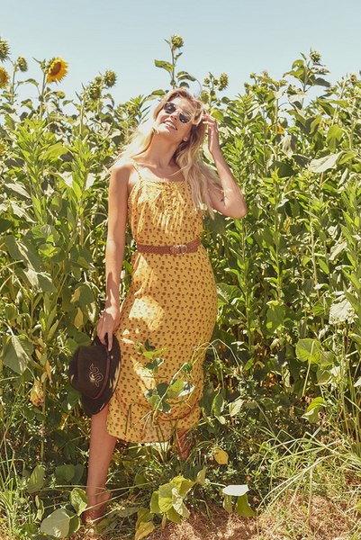 The Sunshine Soul Midi Sundress in Mustard at Dreamers and Drifters