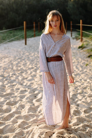 Long dress with leather belt