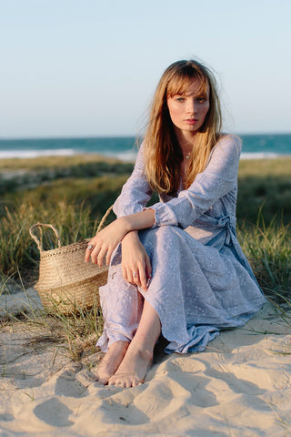 soft grey wrap dress sand dunes