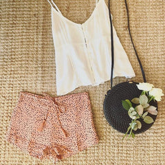 desert sand short w rattan basket bag