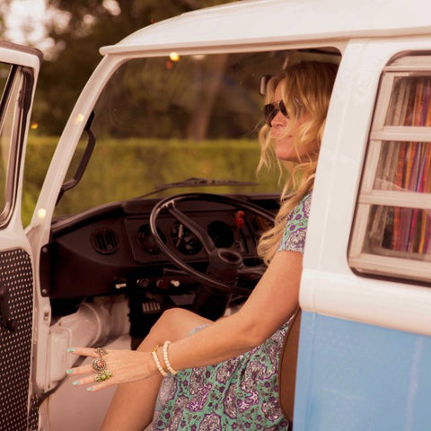 Ibizabohogirl vw kombi blue wrap dress