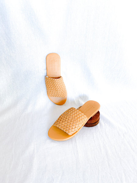 Tan Leather Weave Slides