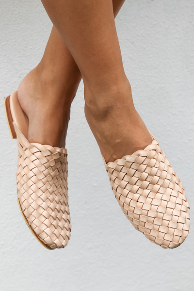 Light Natural Leather Weave Mules