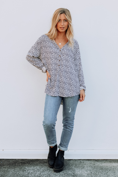 Long Sleeve Blouse Cheetah