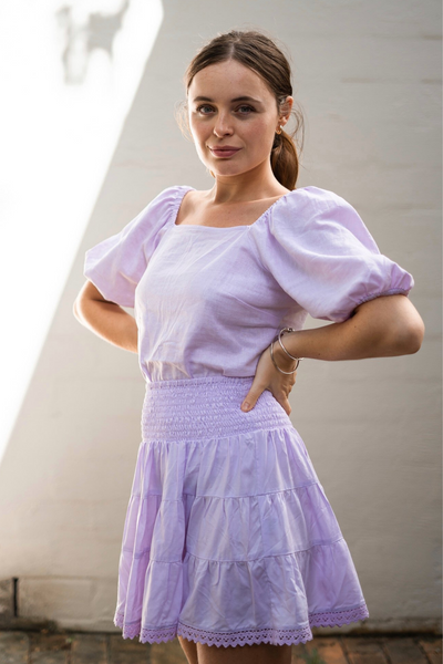 Lilac Linen Viola Puff Sleeve Top