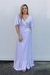 Lilac Flutter Sleeves Wrap Dress