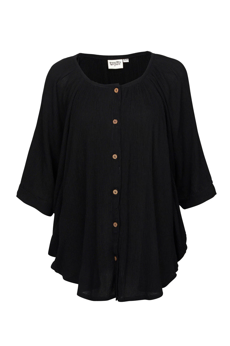 Blouse Champagne - Black Crinkle at Dreamers & Drifters