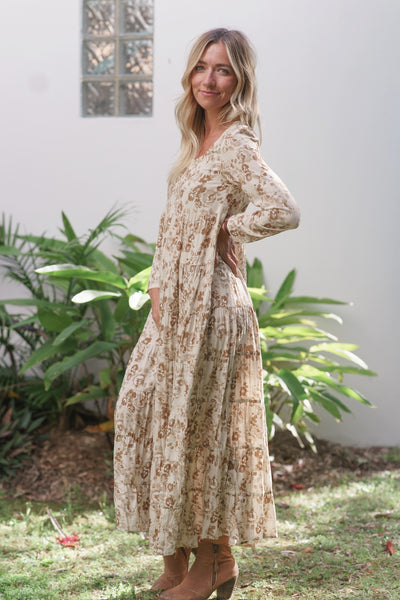 Long Sleeve Tiered Dress in Beige Floral at Dreamers & Drifters