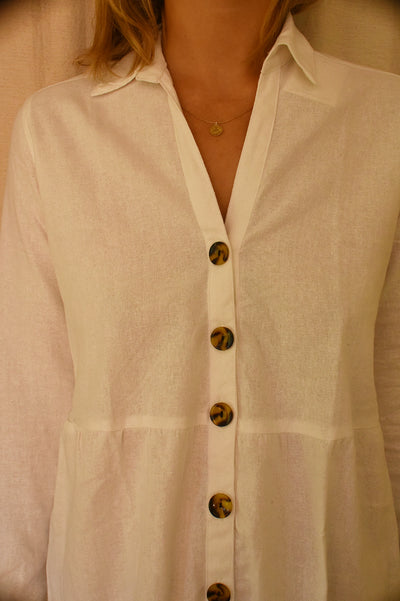 dreamersanddrifters.com.au Paloma Linen Dress Byron Bay buttons