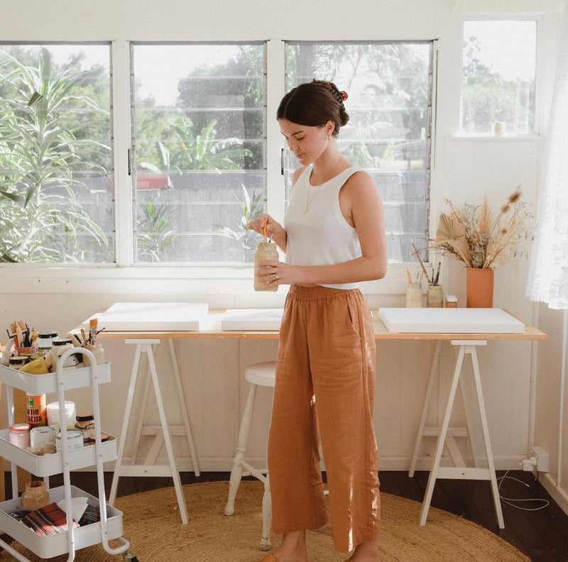 Brown Sugar Linen Wide Leg Culotte Pants