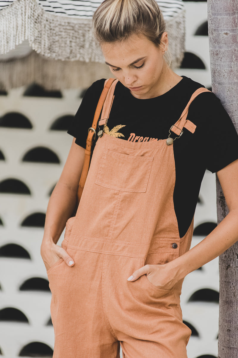 Brown Sugar Linen Long Overalls