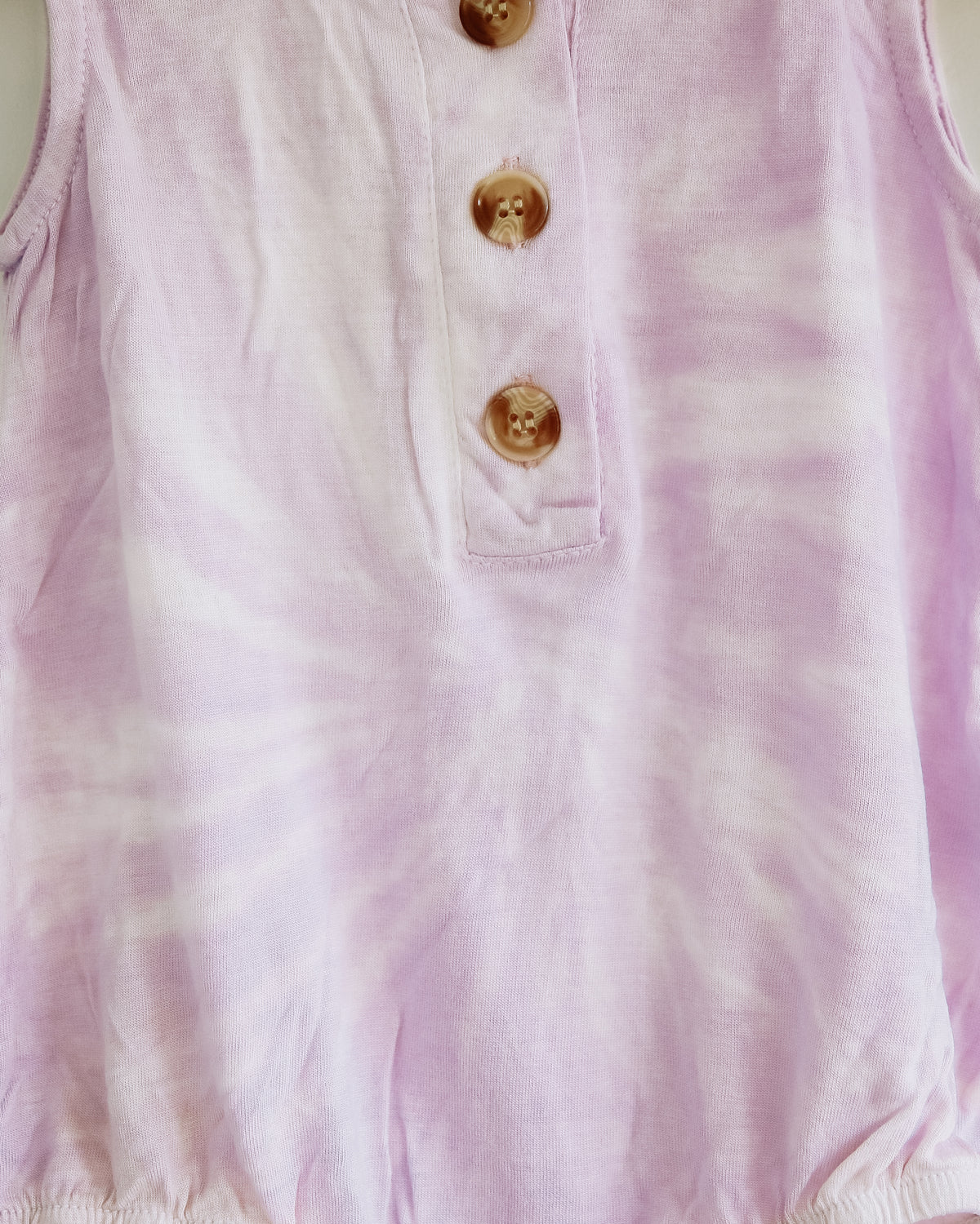 Lilac Organic Bamboo Button-Down Baby Romper Tie-Dye