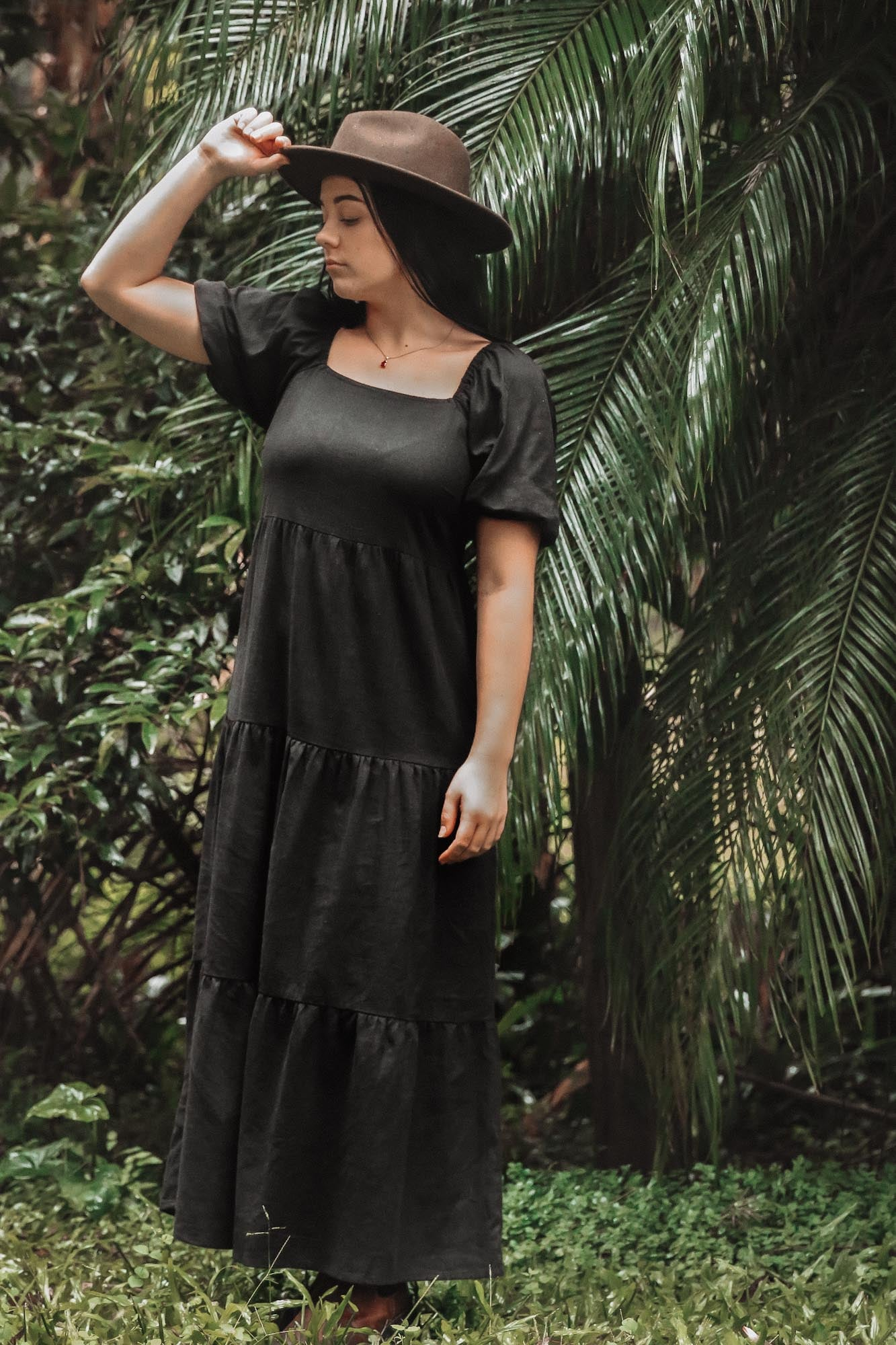 Black Linen Viola Puff Sleeve Maxi Dress