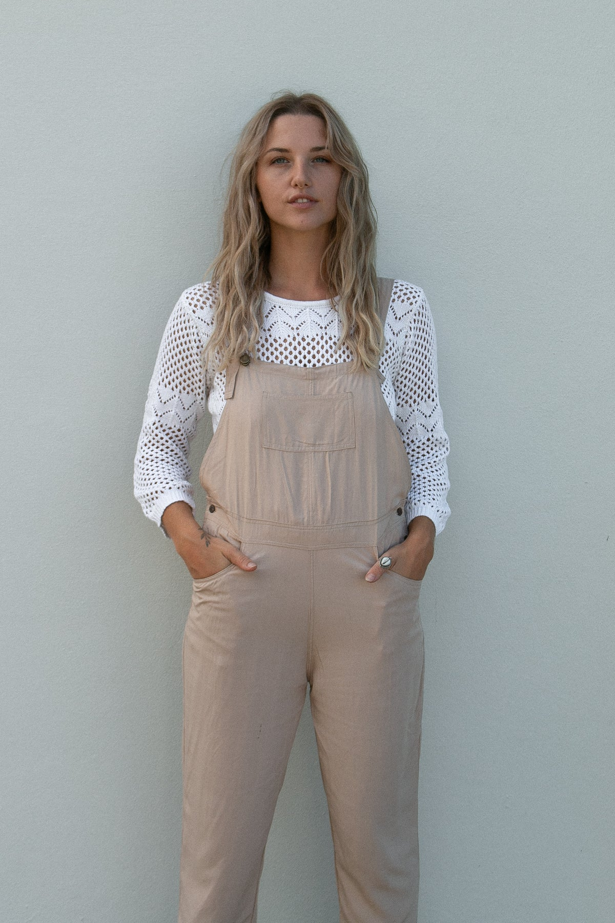 Long Overalls- beige at Dreamers and Drifters