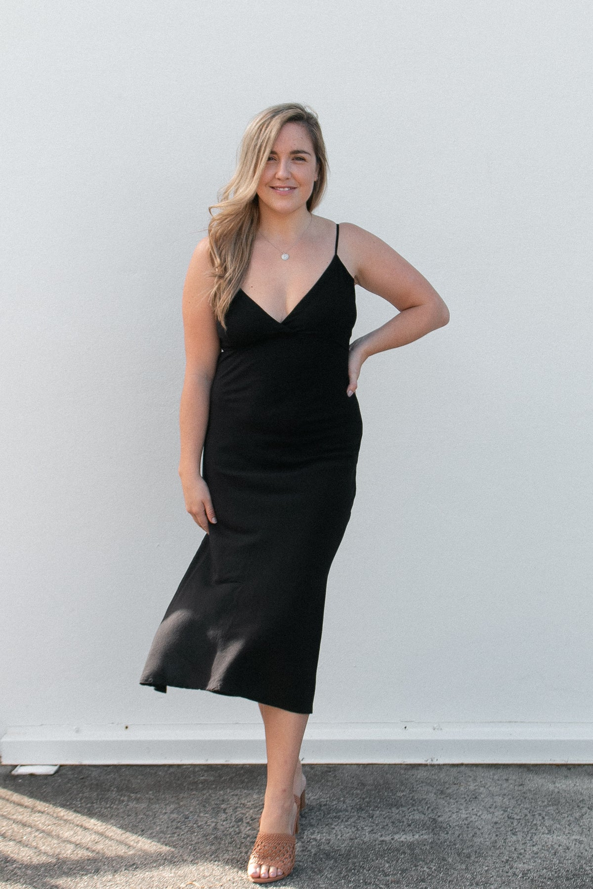 Black Midi Slip Dress- black at Dreamers & Drifters