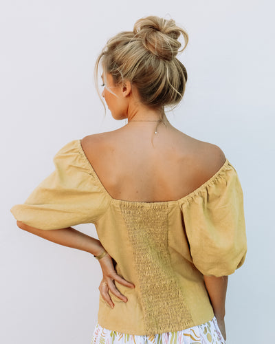 Dreamersanddrifters.com.au Honey Viola puff sleeve top Byron bay designer