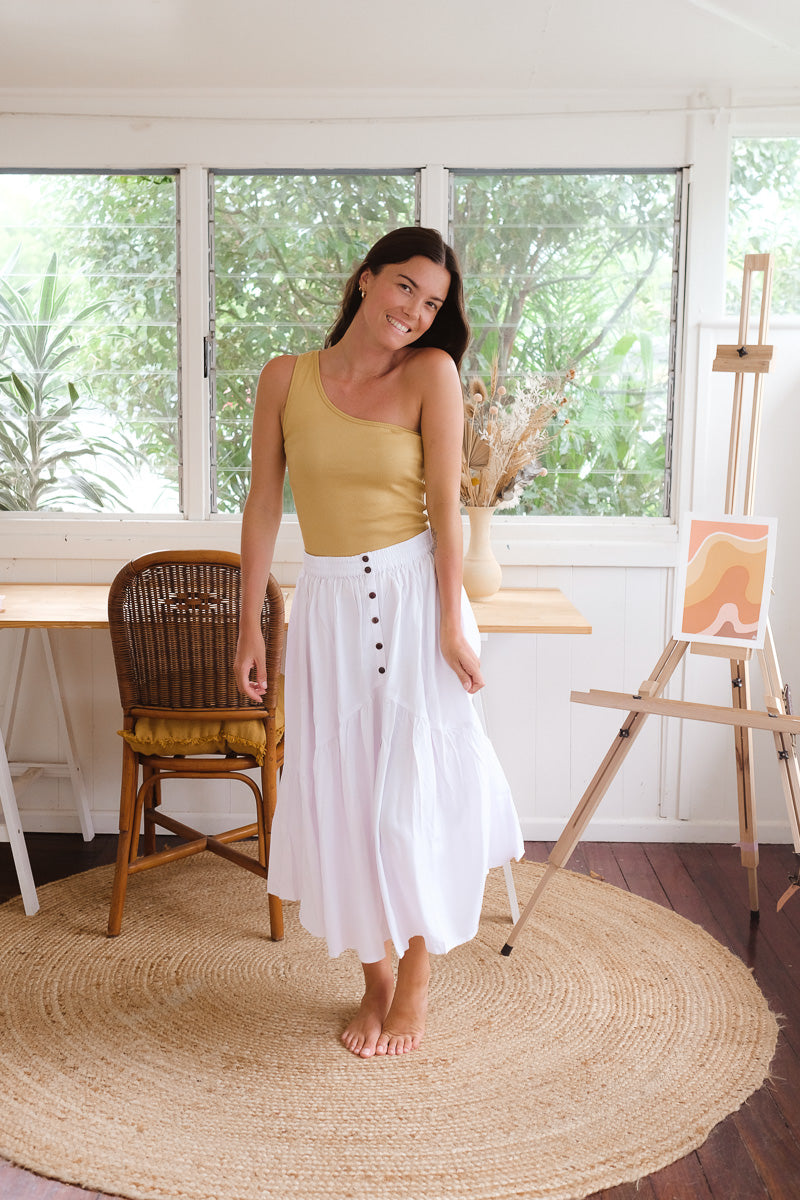 White Sienna Midi Skirt