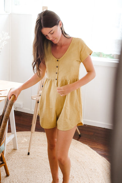 Honey Linen Babydoll Romper
