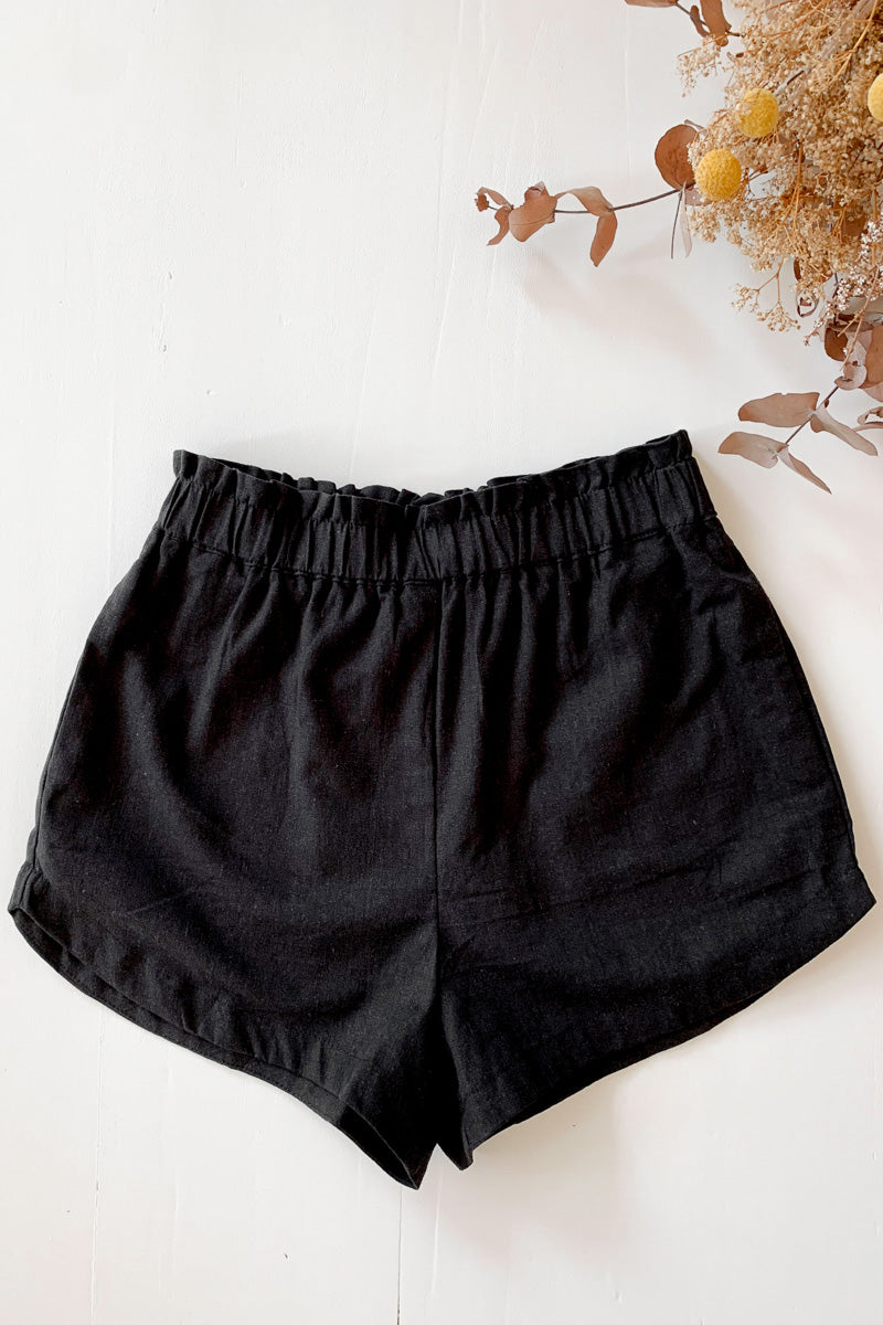 Black Linen Paper Bag Shorts