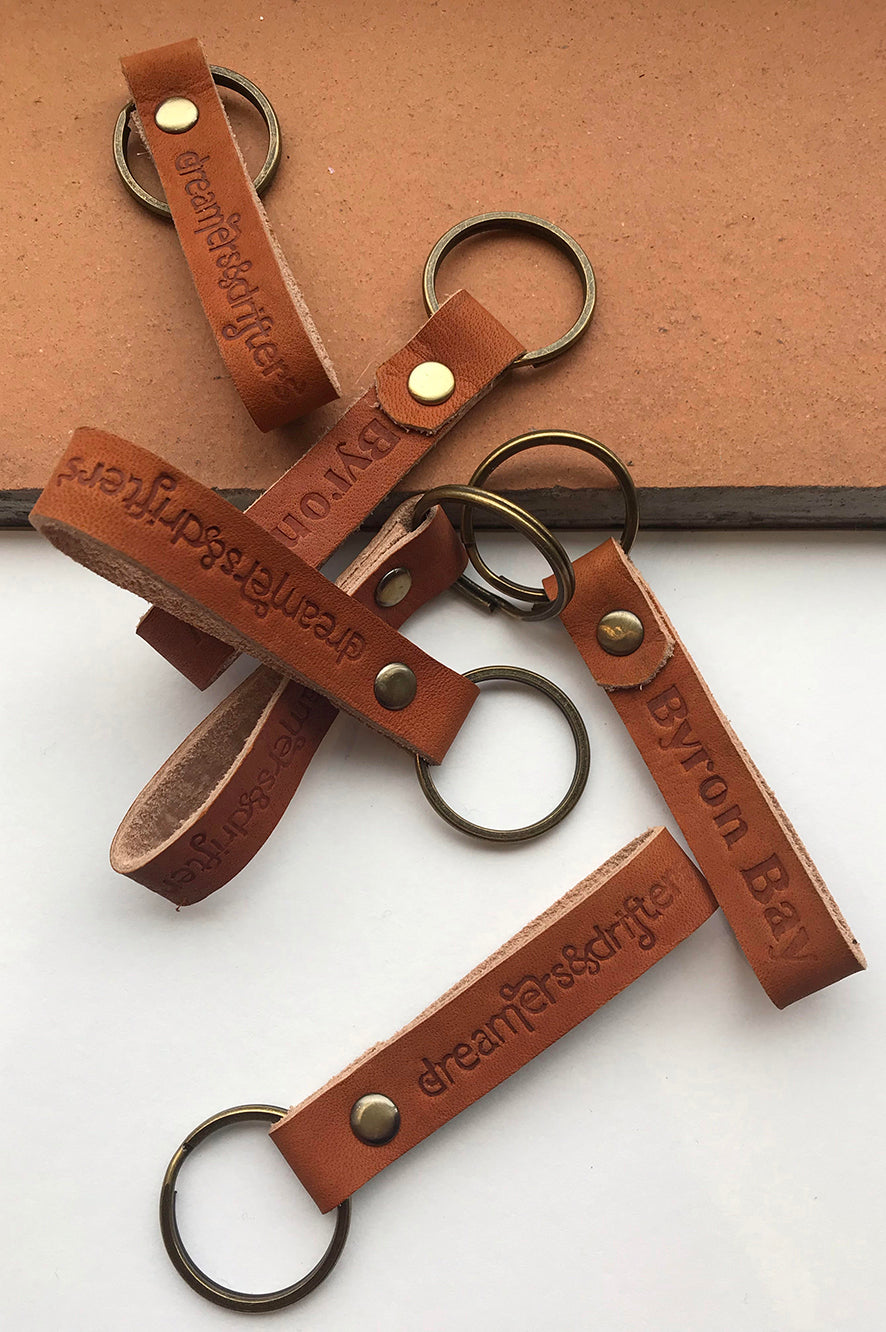 dreamersanddrifters.com.au Leather keyring
