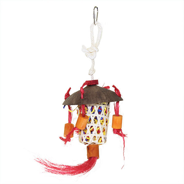 chinese lantern bird toy, parrotbox natural bird toys, small bird hanging toy filled with shredded paper.
