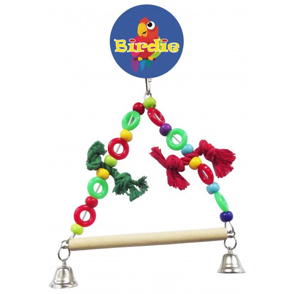 beaded swing with bells bird toy