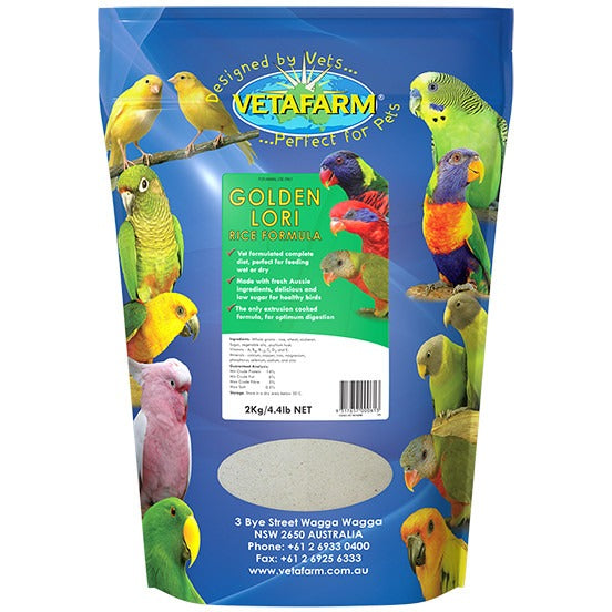 Vetafarm Golden Lori 2Kg Low Fat Rice Formula - PARROTBOX PET SUPPLIES