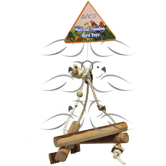 Natural Wooden Triangle Swing-PARROTBOX PET SUPPLIES