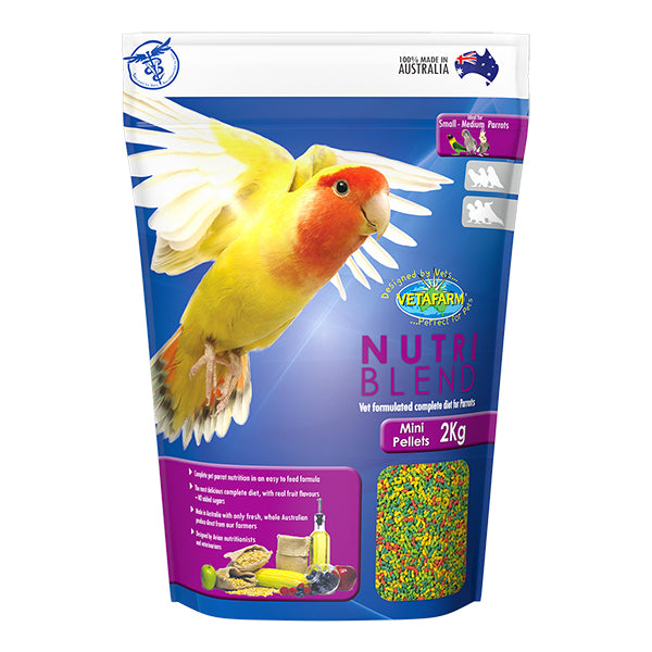 Vetafarm Nutriblend Mini Pellet 2 kg bag - PARROTBOX PET SUPPLIES